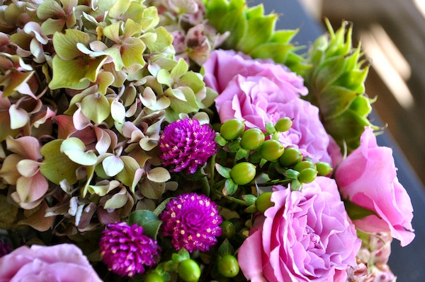 Antique Hydrangea with Purple Clover and Roses