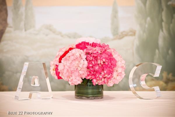 Fuchsia Wedding Flowers Entrance Piece