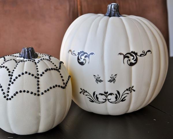 elegant white pumpkins - Fake Halloween Pumpkins