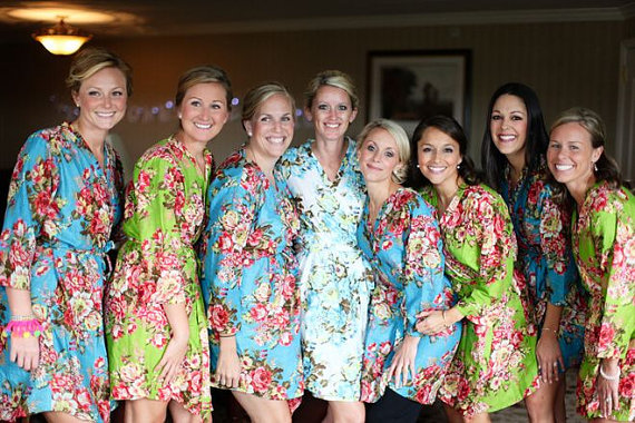 Flower Bridal Party Kimonos