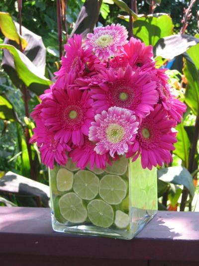 Cheap Wedding Flower Ideas on Ideas For Decor In My Lime Tangerine Yellow Fuchsia Wedding Photo