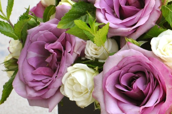 Purple Amnesia Roses With White Spray And Fresh Mint