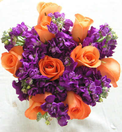 Purple on Flower Arranging   Fall Flowers   Orange Purple Bridal Bouquet