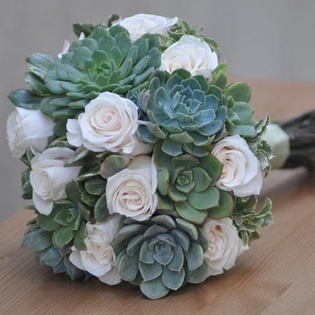 White Roses Succulent Bouquet