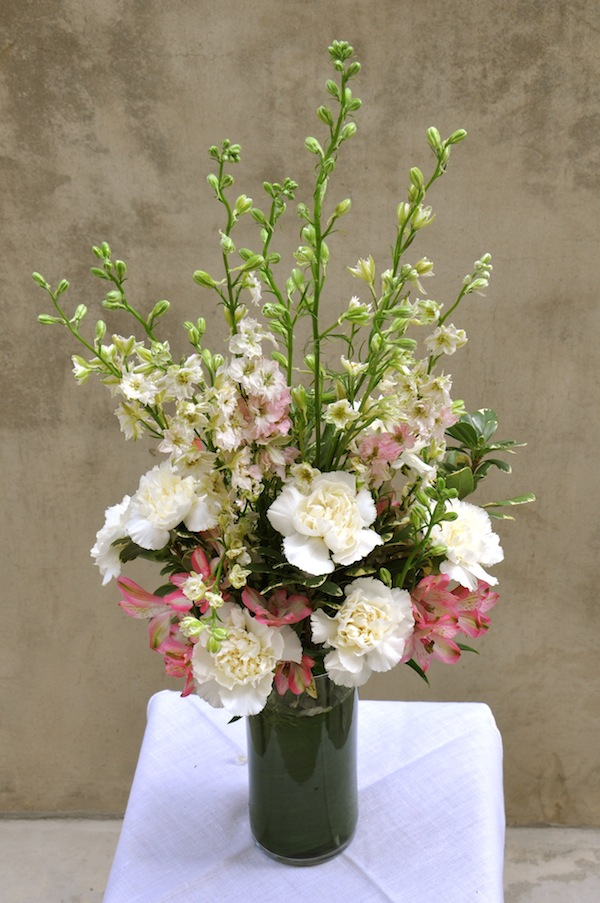 Tall floral design with Larkspur by flowerduet.com